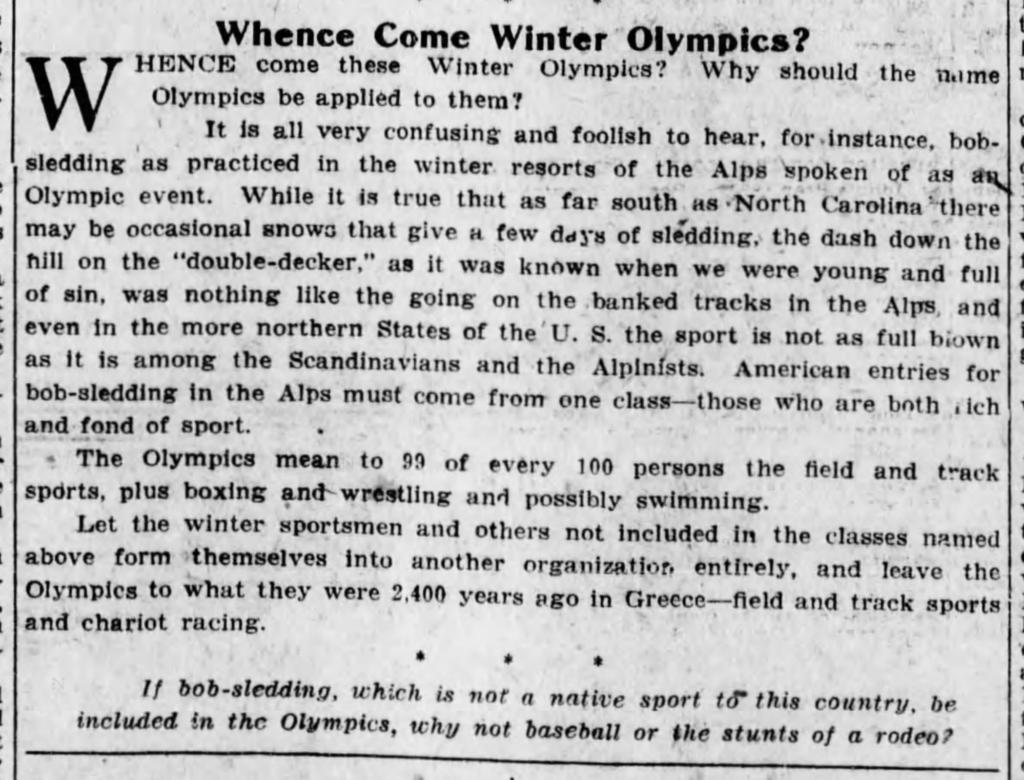 1924 Winter Olympics Op-Ed