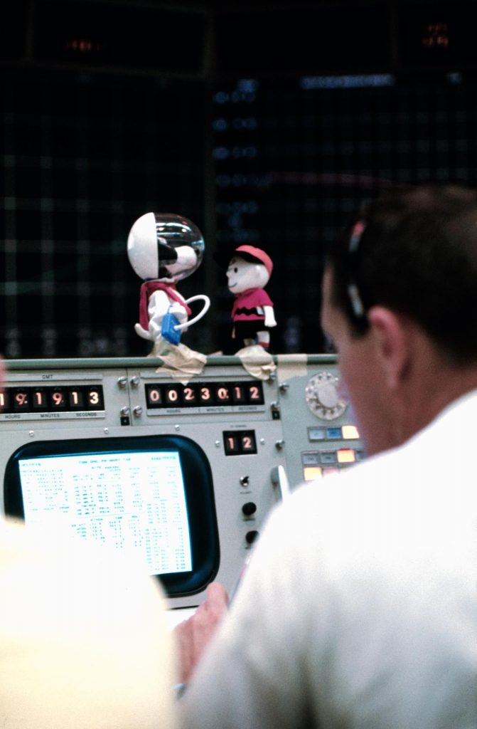 Charlie Brown & Snoopy at Apollo 10 mission control, 1969